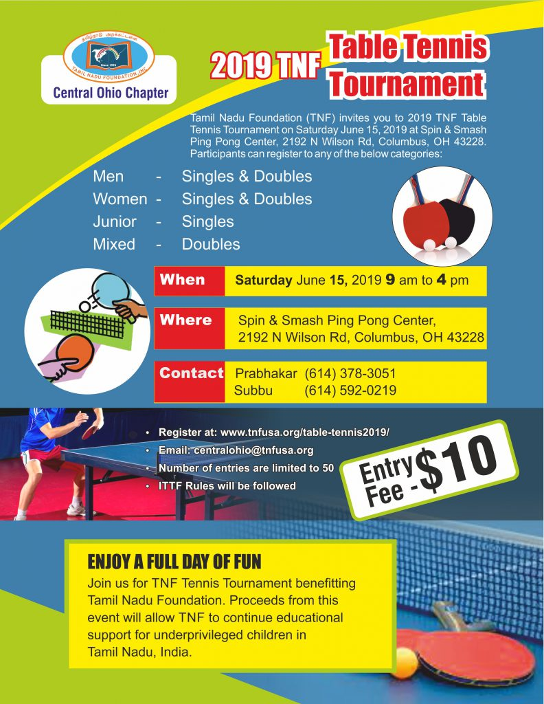 Table Tennis 2019 Tnf Usa Central Ohio Chapter